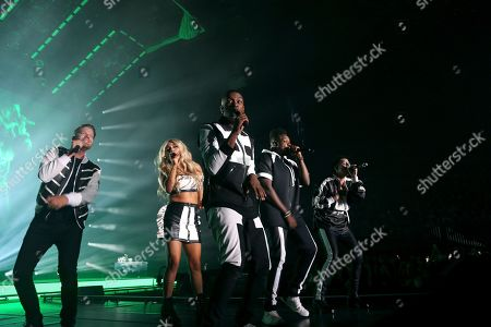 Pentatonix, Scott Hoying, Mitch Grassi, Kirstin Maldonado, Kevin Olusola, Matt Sallee. Pentatonix perform live on stage at The Forum, in Inglewood, Calif