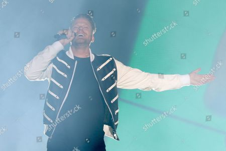 Stock Image of Pentatonix, Scott Hoying. Scott Hoying of Pentatonix performs live on stage at The Forum, in Inglewood, Calif
