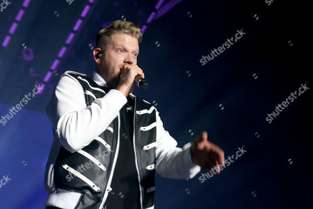 Stock Photo of Pentatonix, Scott Hoying. Scott Hoying of Pentatonix performs live on stage at The Forum, in Inglewood, Calif