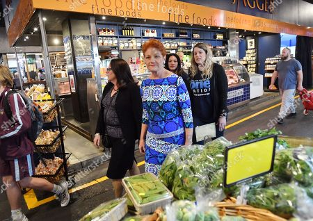 One Nation leader Pauline Hanson is seen during the final day of campaigning at The Central Market, Adelaide, South Australia, Australia, 17 May 2019. The Australian federal election will be held on 18 May 2019 to elect members of parliament.