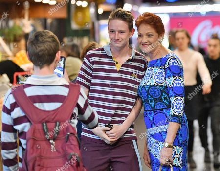 One Nation leader Pauline Hanson is seen posing for a photograph with students during the final day of campaigning at The Central Market, Adelaide, South Australia, Australia, 17 May 2019. The Australian federal election will be held on 18 May 2019 to elect members of parliament.