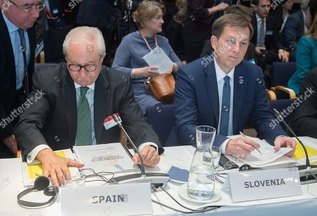 Spain's Secretary of State for Foreign Affairs Fernando Valenzuela (L) and Slovenia's Minister of Foreign Affairs Miro Cerar (R) during the Ministers for Foreign Affairs of the Council of Europe's annual meeting at Finlandia House in Helsinki, Finland, 17 May 2019. The annual meeting runs on 16 and 17 May 2019.