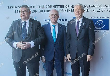 (L-R) Finnish Foreign Minister Timo Soini, Georgia's Minister for Foreign Affairs David Zalkaliani and Secretary General of the Council of Europe Thorbjorn Jagland during the Ministers for Foreign Affairs of the Council of Europe's annual meeting at Finlandia House in Helsinki, Finland, 17 May 2019. The annual meeting runs on 16 and 17 May 2019.
