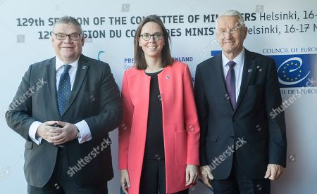 (L-R) Finnish Foreign Minister Timo Soini, France's Secretary of State for European Affairs Amelie de Montchalin and Secretary General of the Council of Europe Thorbjorn Jagland during the Ministers for Foreign Affairs of the Council of Europe's annual meeting at Finlandia House in Helsinki, Finland, 17 May 2019. The annual meeting runs on 16 and 17 May 2019.