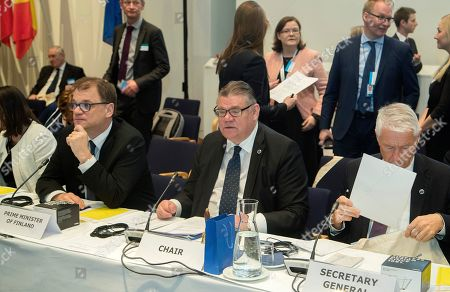 (L-R) Finnish Prime Minister Juha Sipila, Finnish Foreign Minister Timo Soini and Secretary General of the Council of Europe Thorbjorn Jagland during the Ministers for Foreign Affairs of the Council of Europe's annual meeting at Finlandia House in Helsinki, Finland, 17 May 2019. The annual meeting runs on 16 and 17 May 2019.