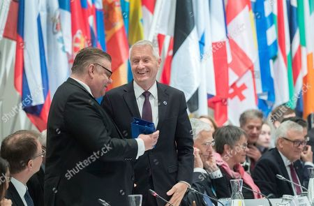 Finnish Foreign Minister Timo Soini (L) reacts next to Secretary General of the Council of Europe Thorbjorn Jagland (R) as Finnish Prime Minister Juha Sipila (bottom, L) looks on during the Ministers for Foreign Affairs of the Council of Europe's annual meeting at Finlandia House in Helsinki, Finland, 17 May 2019. The annual meeting runs on 16 and 17 May 2019.
