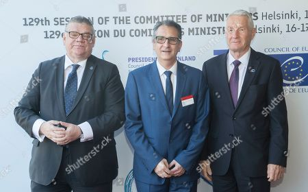 (L-R) Finnish Foreign Minister Timo Soini, Andorra's Ambassador Extraordinary and Plenipotentiary Josep Maria Areny Ache and Secretary General of the Council of Europe Thorbjorn Jagland arrive for the Ministers for Foreign Affairs of the Council of Europe's annual meeting at Finlandia House in Helsinki, Finland, 17 May 2019. The annual meeting runs on 16 and 17 May 2019.