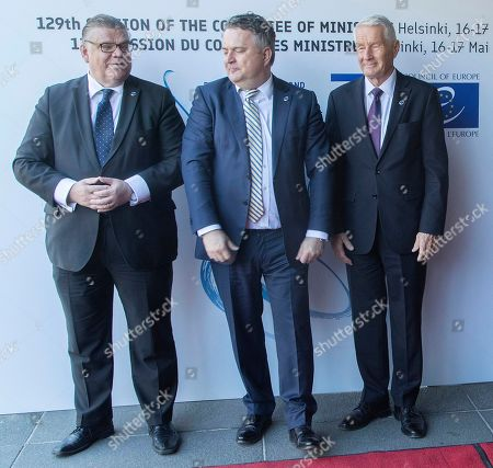 (L-R) Finnish Foreign Minister Timo Soini, Ukrainian second Foreign Minister Sergiy Kyslytsya and Secretary General of the Council of Europe Thorbjorn Jagland during the Ministers for Foreign Affairs of the Council of Europe's annual meeting at Finlandia House in Helsinki, Finland, 17 May 2019. The annual meeting runs on 16 and 17 May 2019.