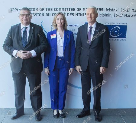(L-R) Finnish Foreign Minister Timo Soini, US Consul General Kara McDonald and Secretary General of the Council of Europe Thorbjorn Jagland arrive for the Ministers for Foreign Affairs of the Council of Europe's annual meeting at Finlandia House in Helsinki, Finland, 17 May 2019. The annual meeting runs on 16 and 17 May 2019.