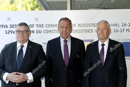 Minister of Foreign Affairs of Finland Timo Soini (L), Minister of Foreign Affairs of Russia Sergey Lavrov and Secretary General of the Council of Europe Thorbjorn Jagland (R)