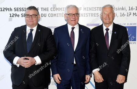 Minister of Foreign Affairs of Finland Timo Soini (L), Polish Foreign Minister Jacek Czaputowicz and Secretary General of the Council of Europe Thorbjorn Jagland (R)