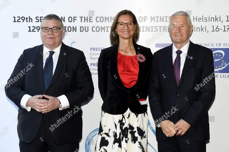 Minister of Foreign Affairs of Finland Timo Soini (L), State Secretary of Norway Marianne Hagen and Secretary General of the Council of Europe Thorbjorn Jagland (R)
