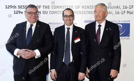 Minister of Foreign Affairs of Finland Timo Soini (L), Minister of Foreign Affairs of San Marino Nicola Renzi and Secretary General of the Council of Europe Thorbjorn Jagland (R)