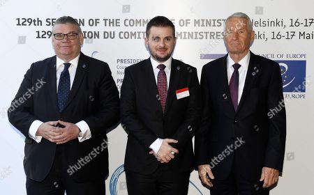 Minister of Foreign Affairs of Finland Timo Soini (L), Acting Minister for Europe and Foreign Affairs of Albania Gent Cakaj and Secretary General of the Council of Europe Thorbjorn Jagland (R)