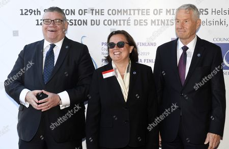 Minister of Foreign Affairs of Finland Timo Soini (L), Secretary of State for European Affairs of Portugal Ana Paula Zacarias and Secretary General of the Council of Europe Thorbjorn Jagland (R)