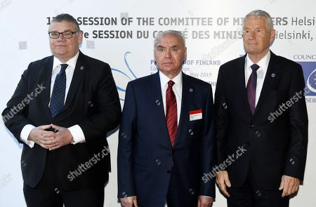 Minister of Foreign Affairs of Finland Timo Soini (L), Deputy Foreign Minister of Azerbaijan Mahmud Mammad-Guliyev and Secretary General of the Council of Europe Thorbjorn Jagland (R)