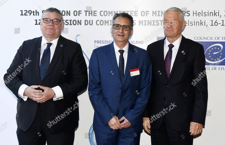 Minister of Foreign Affairs of Finland Timo Soini (L), Ambassador Josep Arenys Ache, Permanent Representative of the Principality of Andorra to the Council of Europe and Secretary General of the Council of Europe Thorbjorn Jagland (R)