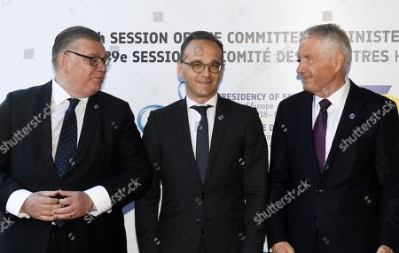 Minister of Foreign Affairs of Finland Timo Soini (L), Minister of Foregn Affairs of Germany Heiko Maas and Secretary General of the Council of Europe Thorbjorn Jagland (R)