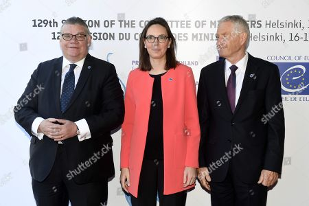 Minister of Foreign Affairs of Finland Timo Soini (L), Junior Minister for European Affairs of France Amelie de Montchalin and Secretary General of the Council of Europe Thorbjorn Jagland (R)