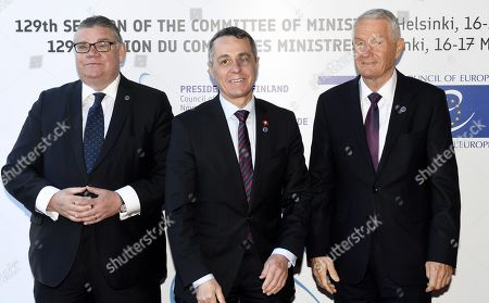 Minister of Foreign Affairs of Finland Timo Soini (L), Head of the Federal Department of Foreign Affairs of Switzerland Ignazio Cassis and Secretary General of the Council of Europe Thorbjorn Jagland (R)