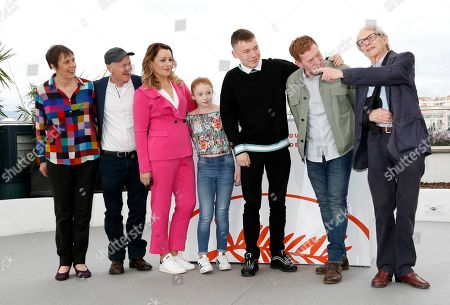 Rebecca O'Brien, Paul Laverty, Debbie Honeywood, Katie Proctor, Rhys Stone, Kris Hitchen and Ken Loach pose during the photocall for Sorry We Missed You' at the 72nd annual Cannes Film Festival, in Cannes, France, 17 May 2019. The movie is presented in the Official Competition of the festival which runs from 14 to 25 May.