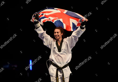 Bianca Walkden of Great Britain celebrates after winning the Womens 73kg Final fight.