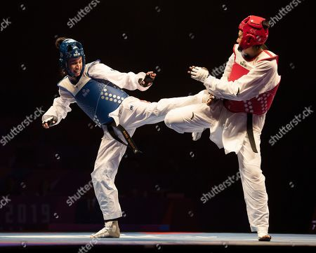 Stock Photo of Bianca Walkden of Great Britain and Shuyin Zheng of China during the Womens 73kg Final fight.