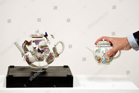 Deconstructed teapot with butterflies, 2017, by Bouke De Vries, and a Chelsea porcelain teapot, est.£15,000-20,000, part of Reshaped: Ceramics Through Time sale at Christie's