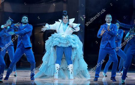 Winner of the 2018 Eurovision Song Contest Netta Barzilai of Israel performs during rehearsals for the Grand Final of the 64th annual Eurovision Song Contest (ESC) at the Expo Tel Aviv, in Tel Aviv, Israel, 17 May 2019. The Grand Final is held on 18 May.