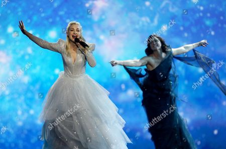 Kate Miller-Heidke of Australia (L) performs during rehearsals for the Grand Final of the 64th annual Eurovision Song Contest (ESC) at the Expo Tel Aviv, in Tel Aviv, Israel, 17 May 2019. The Grand Final is held on 18 May.