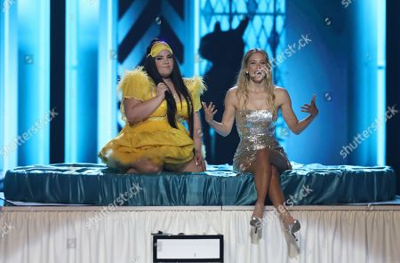 Winner of the 2018 Eurovision Song Contest Netta Barzilai (L) from Israel and Israeli supermodel Bar Refaeli perform during rehearsals for the Grand Final of the 64th annual Eurovision Song Contest (ESC) at the Expo Tel Aviv, in Tel Aviv, Israel, 17 May 2019. The Grand Final is held on 18 May.