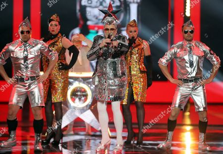 Verka Serduchka performs during rehearsals for the Grand Final of the 64th annual Eurovision Song Contest (ESC) at the Expo Tel Aviv, in Tel Aviv, Israel, 17 May 2019. The Grand Final is held on 18 May.