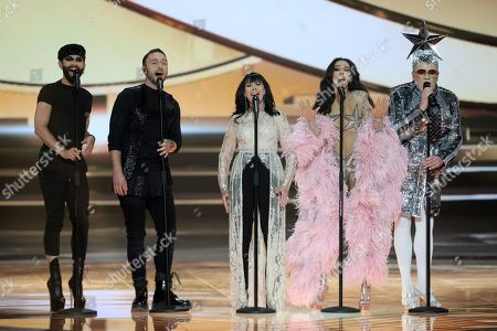 Stock Picture of Former participants of Eurovision Song Contests Austrian singer Conchita, Swedish Mans Zelmerlow, Israeli singer Gali Atari, Greek singer Eleni Foureira for Cyprus and Ukrainian comedian Verka Serduchka perform during rehearsals for the Grand Final of the 64th annual Eurovision Song Contest (ESC) at the Expo Tel Aviv, in Tel Aviv, Israel, 17 May 2019. The Grand Final is held on 18 May.