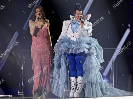 Winner of the 2018 Eurovision Song Contest Netta Barzilai (L) and Winner of the 1998 Eurovision Song Contest Dana International (R) of Israel perform during the rehearsals for the Grand Final of the 64th annual Eurovision Song Contest (ESC) at the Expo Tel Aviv, in Tel Aviv, Israel, 17 May 2019. The Grand Final is held on 18 May.