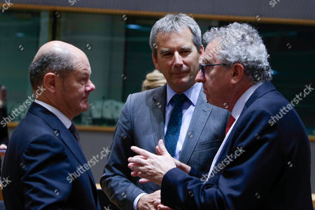 (L-R) German Minister of Finance Olaf Scholz, Austrian Finance Minister Hartwig Loeger and Luxembourg's Finance Minister Pierre Gramegna, at the start of an Economic and Financial affairs meeting council (ECOFIN), at the European Council in Brussels, Belgium, 17 May 2019. The ministers will hold a debate on digital taxation and talk main outcomes of the G20, IMF and World Bank spring meetings as well as adopt conclusions based on the European Semester exercise for 2019.