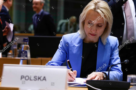 Poland's Finance Minister Teresa Czerwinska at the start of an Economic and Financial affairs meeting council (ECOFIN), at the European Council in Brussels, Belgium, 17 May 2019. The ministers will hold a debate on digital taxation and talk main outcomes of the G20, IMF and World Bank spring meetings as well as adopt conclusions based on the European Semester exercise for 2019.