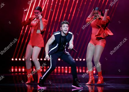 """Luca Hanni of Switzerland performs the song 'She Got Me"""" during the 2019 Eurovision Song Contest grand final rehearsal in Tel Aviv, Israel"""