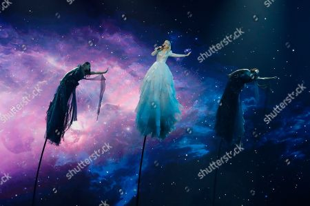 "Kate Miller-Heidke of Australia performs the song ""Zero Gravity"" during the 2019 Eurovision Song Contest grand final rehearsal in Tel Aviv, Israel"