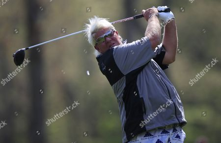 John Daly of the US hits his tee shot on the twelfth hole during the second round of the 2019 PGA Championship at Bethpage Black in Farmingdale, New York, USA, 17 May 2019. The Championship runs from 16-19 May.