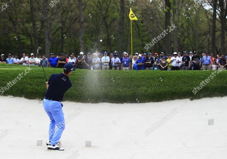 Billy Horschel of the US hits out of a bunker on the ninth hole during the second round of the 2019 PGA Championship at Bethpage Black in Farmingdale, New York, USA, 17 May 2019. The Championship runs from 16-19 May.