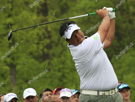 Kiradech Aphibarnrat of Thailand hits his tee shot on the sixth hole during the second round of the 2019 PGA Championship at Bethpage Black in Farmingdale, New York, USA, 17 May 2019. The Championship runs from 16-19 May.