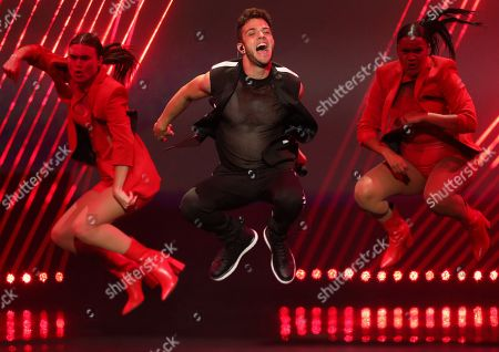 Luca Haenni of Switzerland performs during rehearsals for the Grand Final of the 64th annual Eurovision Song Contest (ESC) at the Expo Tel Aviv, in Tel Aviv, Israel, 17 May 2019. The Grand Final is held on 18 May.