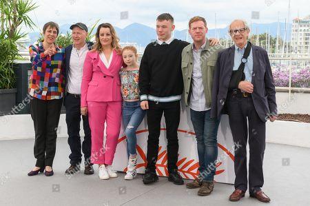 l-r: Rebecca O'Brien, Paul Laverty, Debbie Honeywood, Katie Proctor, Rhys Stone, Kris Hitchen, Ken Loach