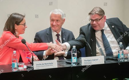 Timo Soini (R) Foreing Minister of Finland, Amelie de Montchalin (L) Frances Secretary of State for European affair and Thornbjorn Jagland (C) Secterary General of the Council of Europe, shake hands during the Ministers for Foreing Affairs of the Council of Europe's annual meeting at Finlandia House in Helsinki, Finland, 17 May 2019.