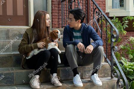 Kathryn Prescott as CJ, Bailey (Josh Gad) and Henry Lau as Trent