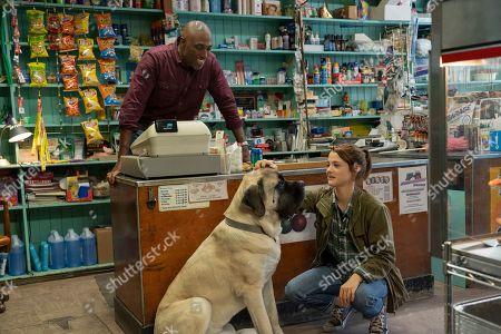 Conrad Coates as Big Joe, Bailey (Josh Gad) and Kathryn Prescott as CJ