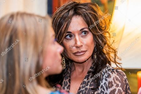 Stock Picture of Nancy Dell'Olio at the launch party for Opera Gallery's 'Spaziale!' exhibition at the Italian Embassy.