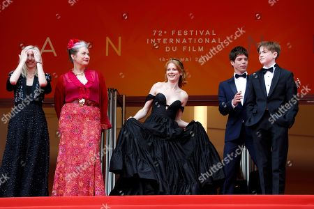 Jessica Hausner, Kerry Fox, Emily Beecham, Kit Connor and Phenix Brossard arrive for the screening of 'Little Joe' during the 72nd annual Cannes Film Festival, in Cannes, France, 17 May 2019. The movie is presented in the Official Competition of the festival which runs from 14 to 25 May.