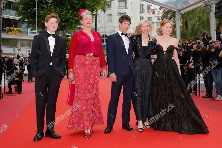 Kit Connor, Kerry Fox, Phenix Brossard, Jessica Hausner and Emily Beecham arrive for the screening of 'Little Joe' during the 72nd annual Cannes Film Festival, in Cannes, France, 17 May 2019. The movie is presented in the Official Competition of the festival which runs from 14 to 25 May.