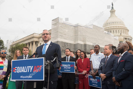 Human Rights Campaign President Chad Griffin is joined by members of Congress and advocates during a Human Rights Campaign news conference outside the Capitol before the historic House vote on the Equality Act on in Washington